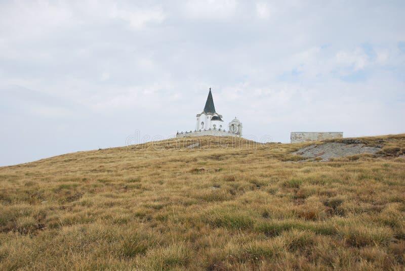 Церковь которая на пике Kajmakchalan, место сражения WWI стоковое изображение rf