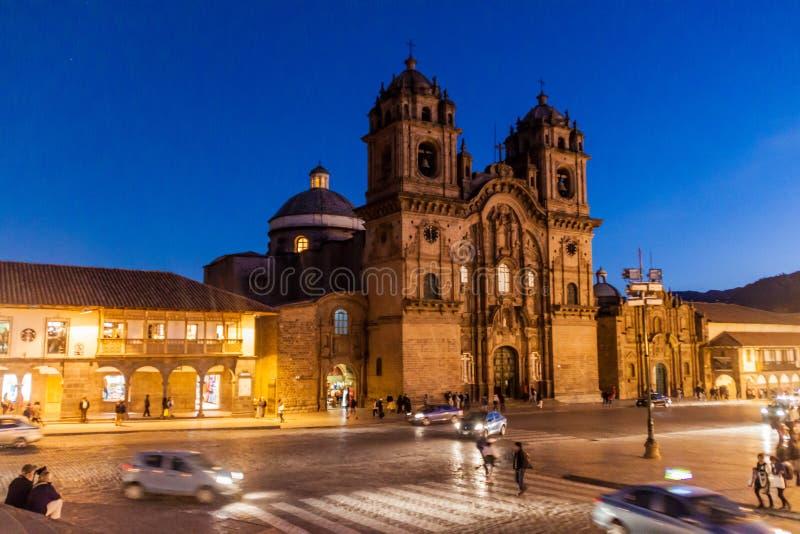 Церковь Ла Compania de Иисуса на квадрате Площади de Armas в Cuzco стоковая фотография rf