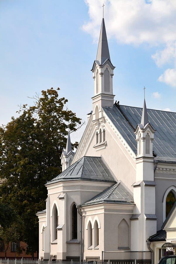 Церковь лютеранина памятника St. John неоготического стиля архитектуры XVIII века в европейском городе Grodno стоковые изображения