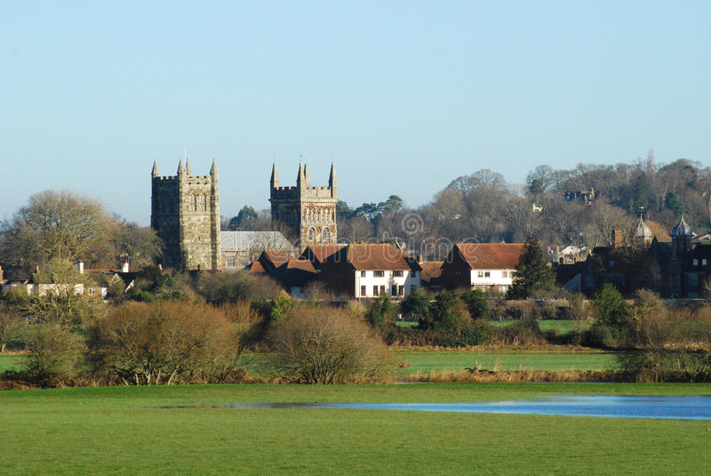 Церковь монастырской церкви Wimborne стоковые изображения rf