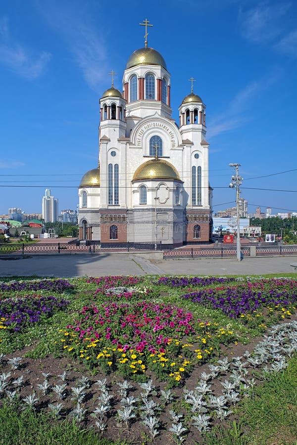 Церковь на крови в Екатеринбурге, России стоковые изображения rf