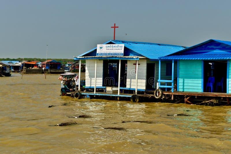 Церковь на плавая деревне стоковая фотография rf