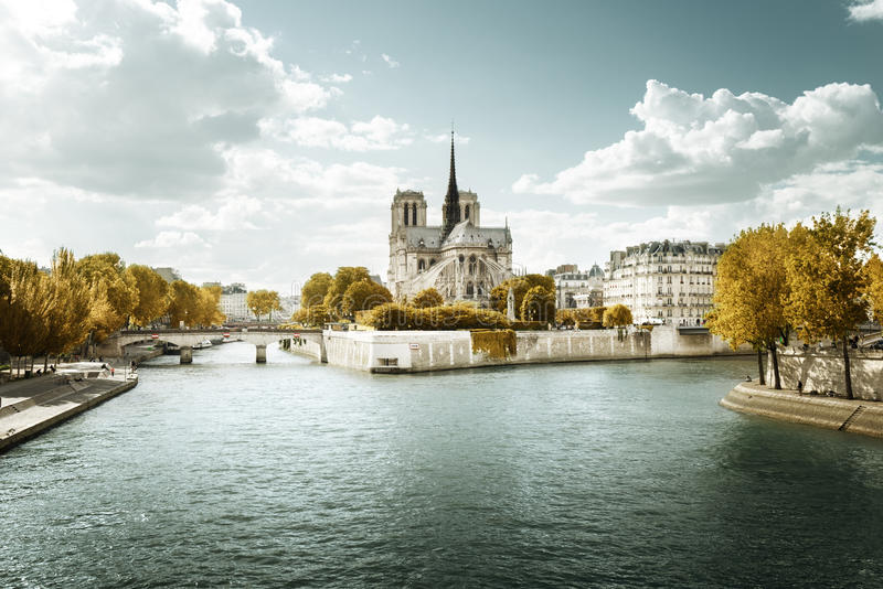 Церковь Нотр-Дам в Париже и дне осени солнечном стоковые изображения rf