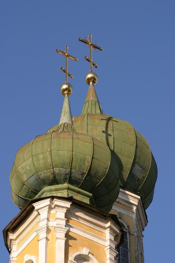 церковь пересекает золото правоверное стоковая фотография rf