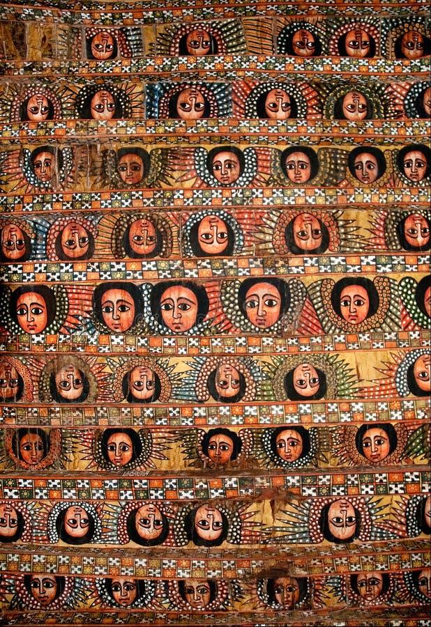 церковь покрашенная эфиопия потолка стоковая фотография