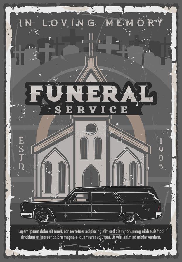 Церковь похоронной церемонии, автомобиль дрог и надгробная плита бесплатная иллюстрация