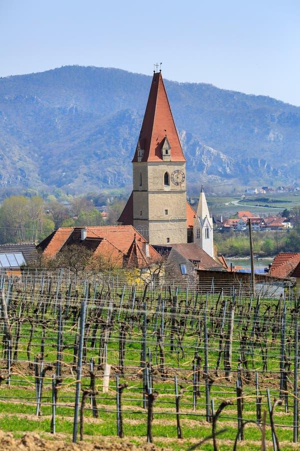 Церковь предположения девой марии с виноградниками на переднем плане Weissenkirchen в der Wachau, Нижней Австрии стоковые изображения rf