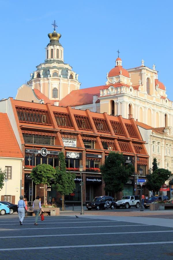 Церковь площади ратуши и St Casimir в Вильнюсе, Литве стоковое фото