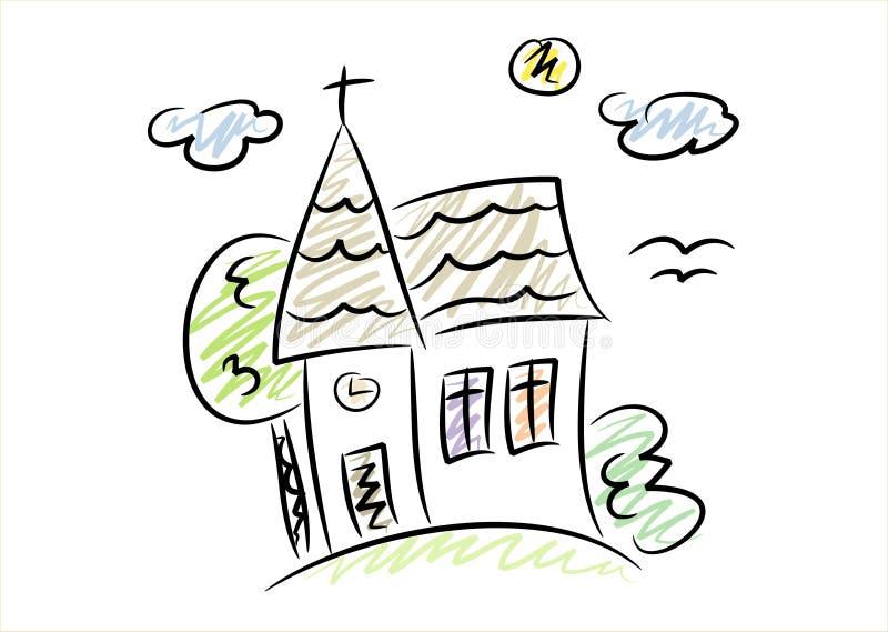 церковь рисуя немногую просто иллюстрация вектора