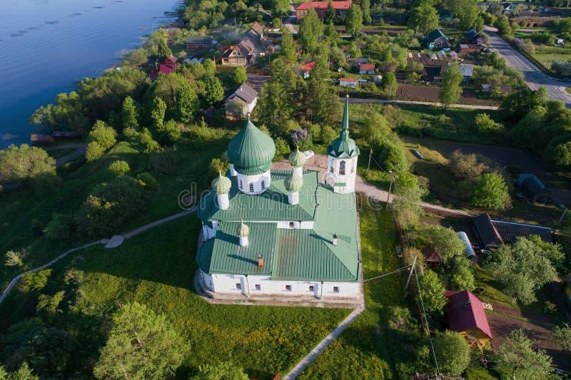 Церковь рождества Джона предшественник в воздушном фотографировании Staraya Ladoga стоковая фотография rf