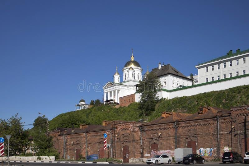Церковь рождества Иоанна Крестителя на Torgu один из самых старых висков в Nizhny Novgorod стоковая фотография