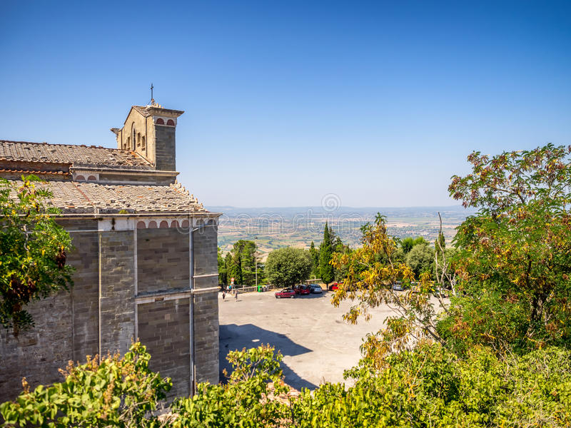 Церковь Санты Margherita na górze Cortona в Тоскане стоковая фотография