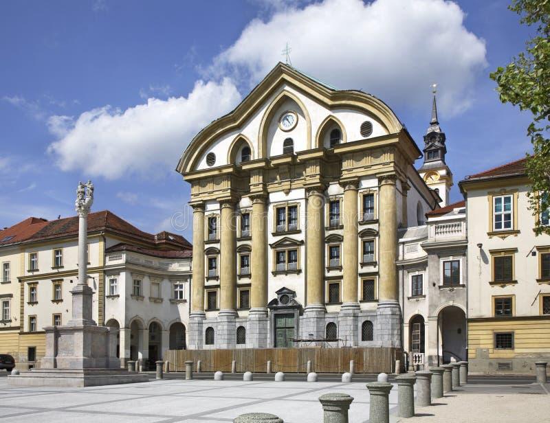 Церковь святой троицы в Любляне Slovenija стоковое фото rf