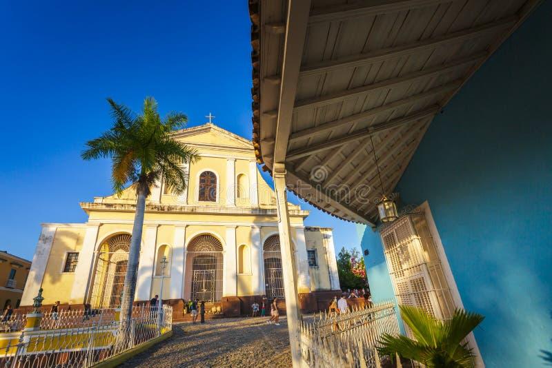 Церковь святой троицы в площади главной в Тринидаде стоковое фото rf