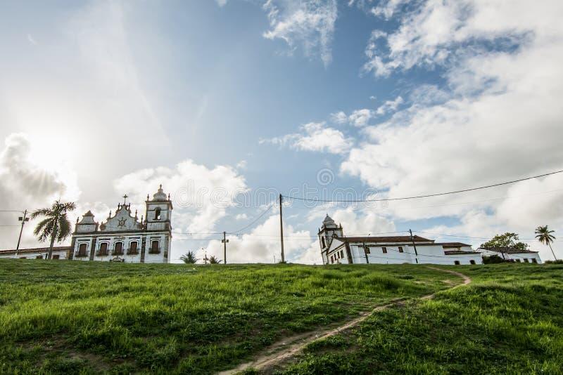 Церковь Святых Cosme и Damião и ансамбль священного сердца Иисуса, Igarassu, Pernambuco, Бразилии стоковые изображения