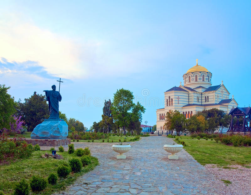 Церковь собора St Владимира вечера (Chersonesos, Севастополь) стоковые фото