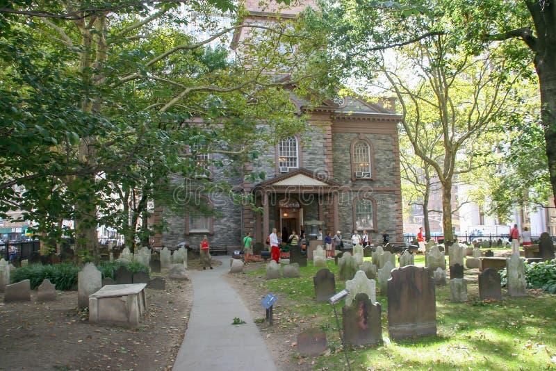 Церковь троицы на Манхэттене, Нью-Йорке, США стоковые изображения rf