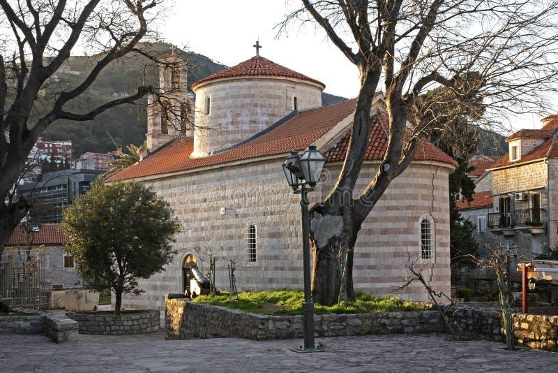 Церковь троицы St в Budva Черногория стоковые изображения