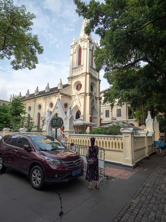 Церковь тяни Sha Mian в острове Shamian, Гуанчжоу, Китае стоковая фотография rf