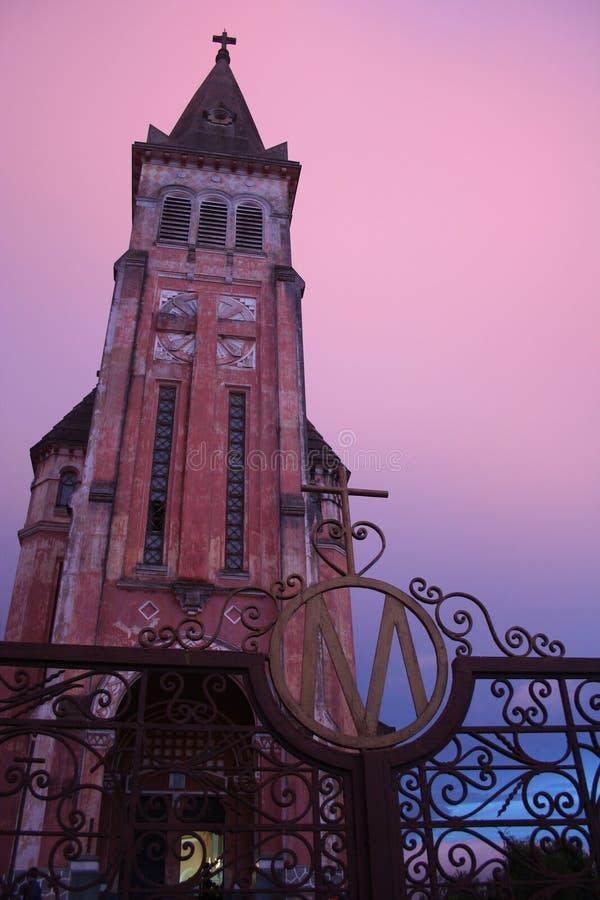 церковь французский старый Вьетнам стоковая фотография