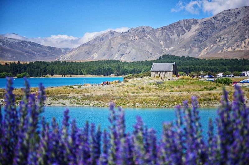 Церковь хорошего чабана, озеро Tekapo, Новая Зеландия стоковая фотография rf