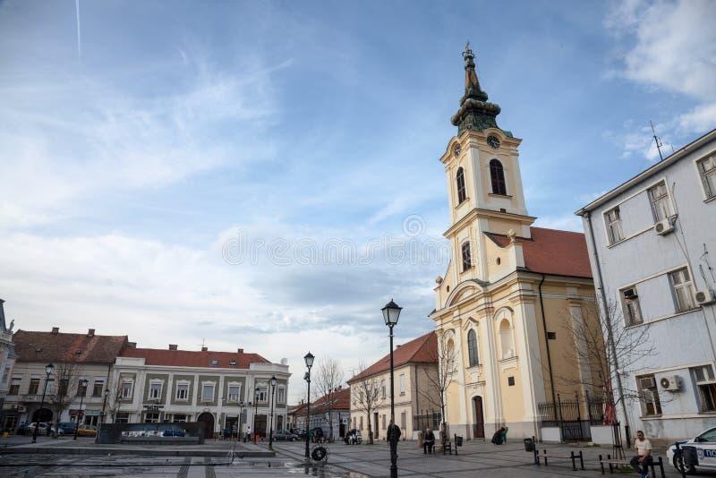 Церковь crkva Nikolajevska на квадрате trg Veliki в Zemun, Белграде, Сербии стоковая фотография