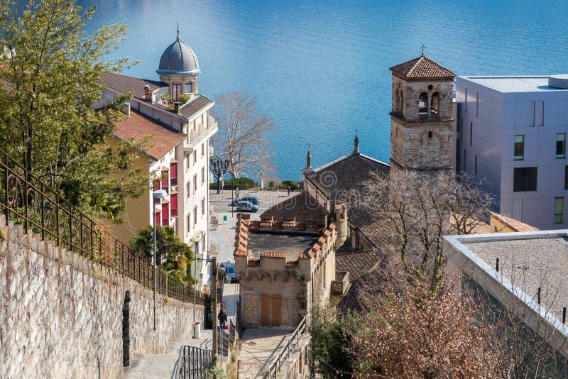 Церковь degli Angeli Santa Maria, Лугано, Швейцарии стоковое изображение rf