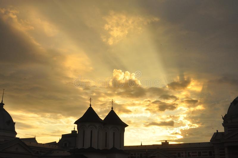 Церковь ea› ColÈ на восходе солнца стоковая фотография