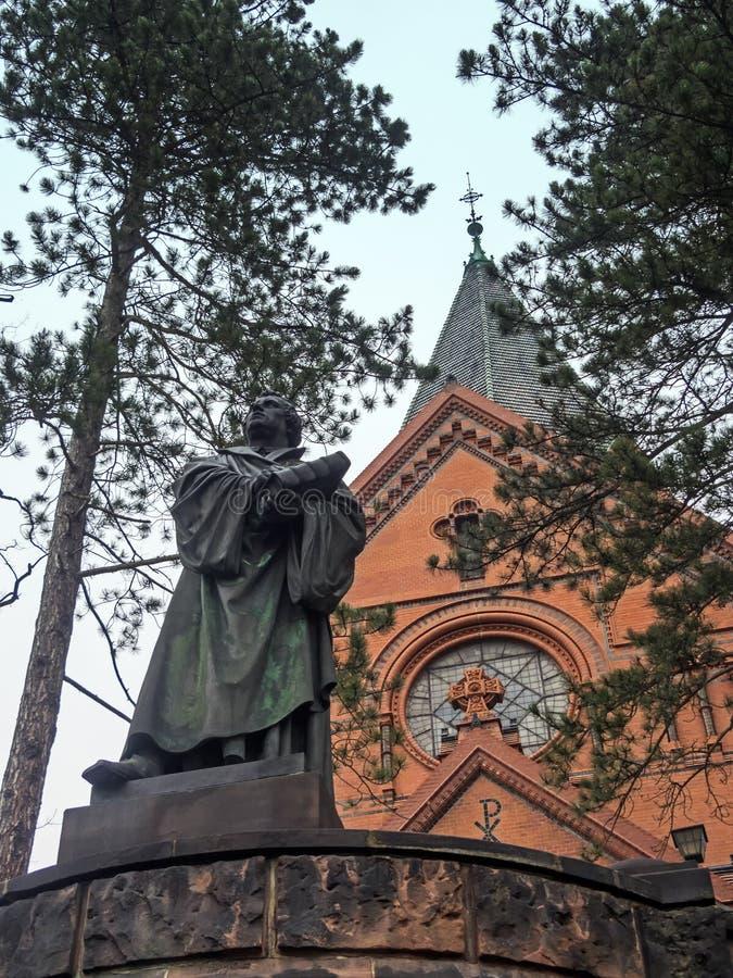 Церковь Goerlitz, Luther и статуя Luther стоковое изображение
