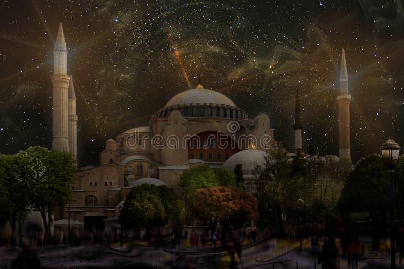 Церковь Hagia Sophia святой премудрости на звездной ночи стоковая фотография