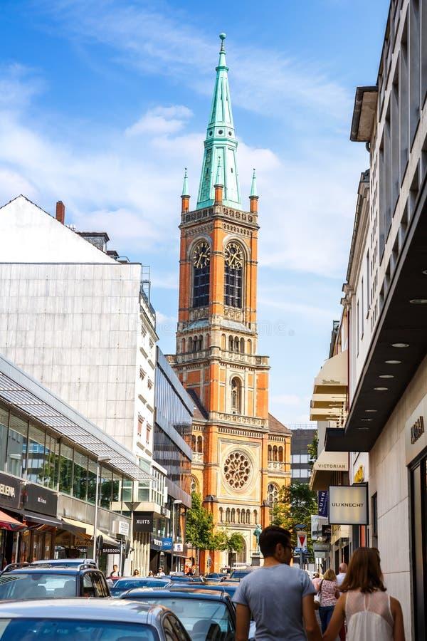 Церковь Johannes в Дюссельдорфе стоковое фото rf