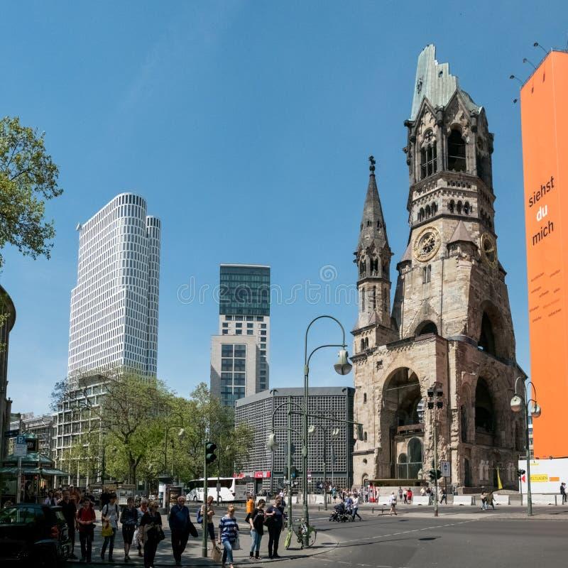 Церковь Kaiser Wilhelm Gedächtniskirche мемориальная на Kurfue стоковая фотография rf