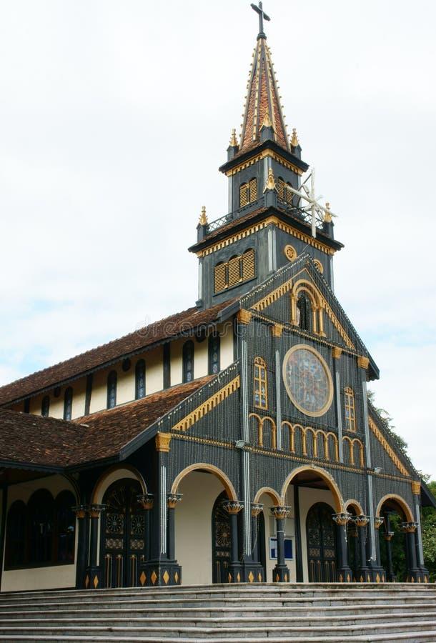 Церковь Kontum деревянная, старый собор, наследие стоковое фото rf