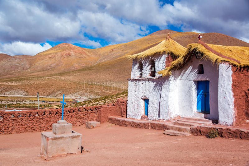 Церковь Machuca крыши соломы стоковое изображение