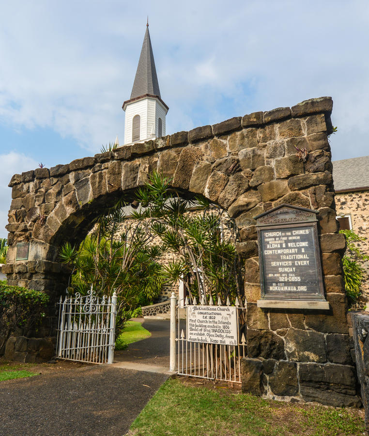 Церковь Mokuaikaua, Гаваи стоковые изображения