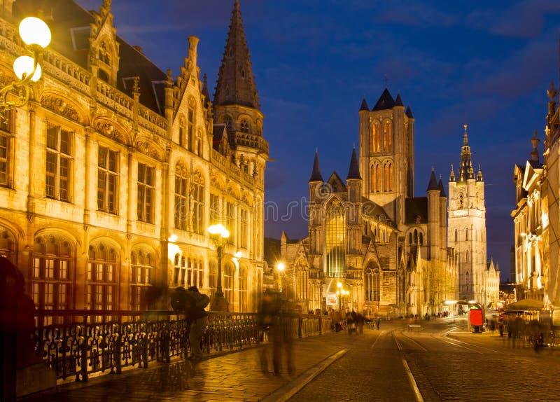 Церковь Nichlas и башня колокольни, Гент стоковое изображение