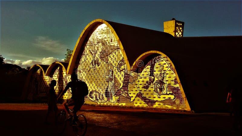 Церковь Pampulha в позднем вечере стоковые изображения