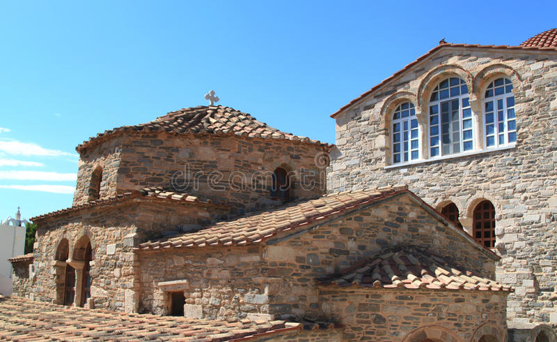 Церковь Panagia Ekatontapiliani в Paros, Греции стоковые изображения