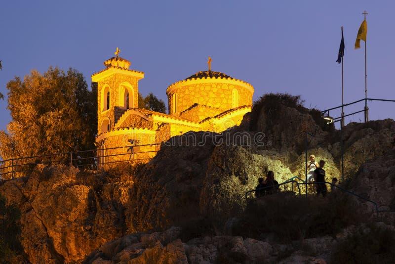 Церковь Profitis Ilias, Protaras, Кипра 26-ое августа 2018 Protaras, Кипр стоковая фотография rf
