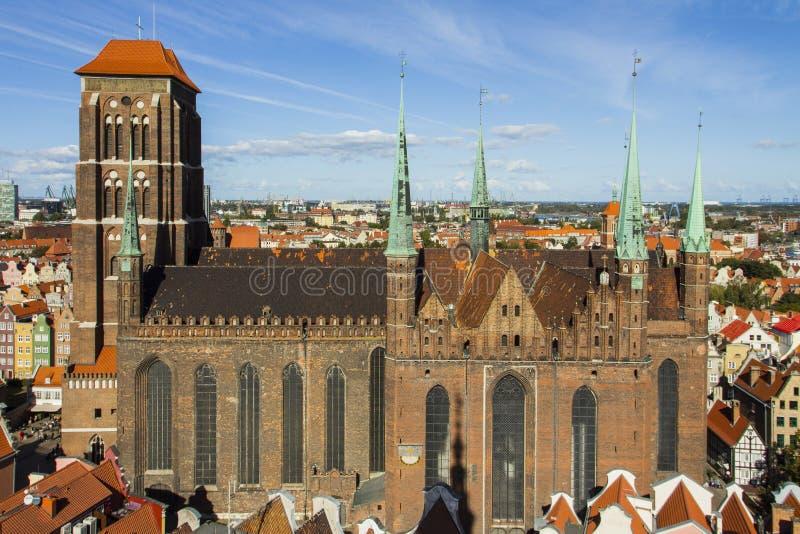Церковь ` s St Mary или официально базилика предположения благословленной девой марии римско-католическая церковь в Гданьске, Pol стоковые фото