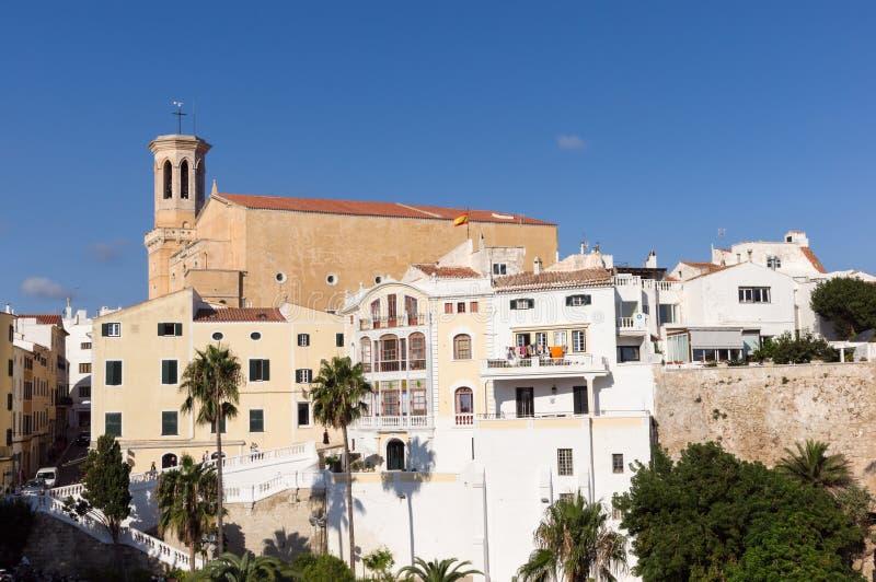Церковь Santa Maria в историческом центре Mahon - Minorca, Baleares, Испании стоковая фотография rf