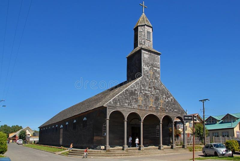 Церковь Santa Maria de Loreto, Achao, Чили стоковые фотографии rf