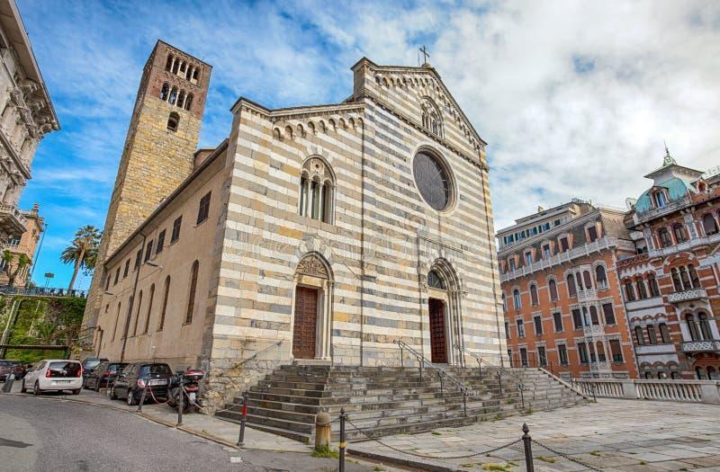 Церковь Santo Stefano St Stephen в центре города Генуи, Италии стоковое фото