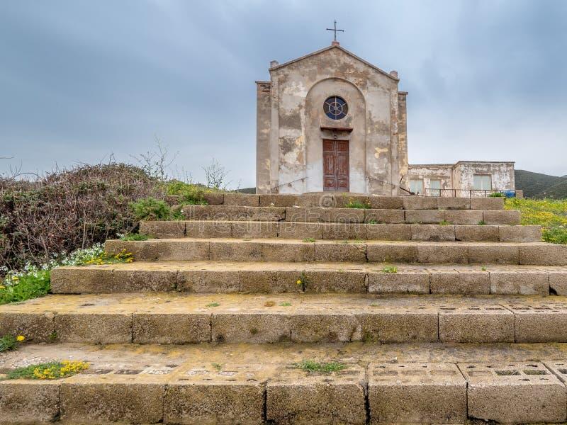 Церковь St Барбары в Argentiera стоковое фото