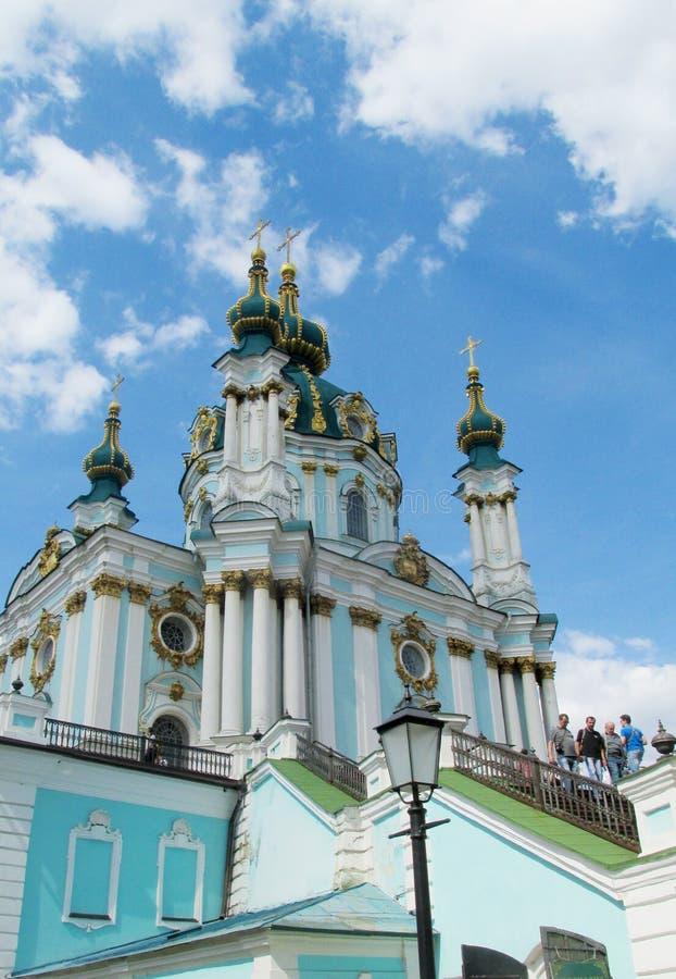 Церковь St Andrew, Киев, православная церков церковь стоковые фото