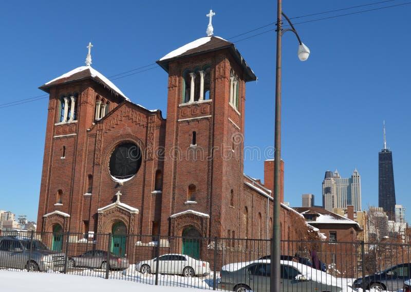 Церковь St Dominic в снеге стоковые изображения