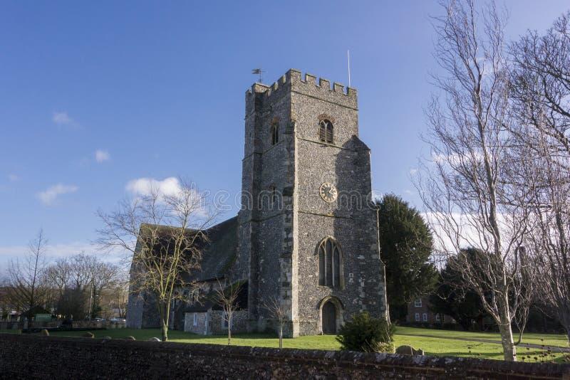Церковь St Marys, Chartham, Кент стоковые фотографии rf