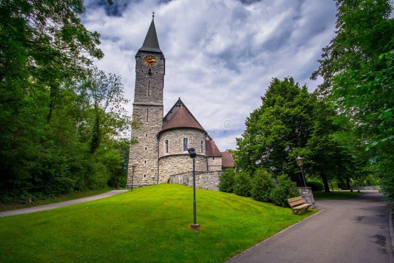 Церковь St Nicholas в Balzers, Лихтенштейне стоковое изображение rf