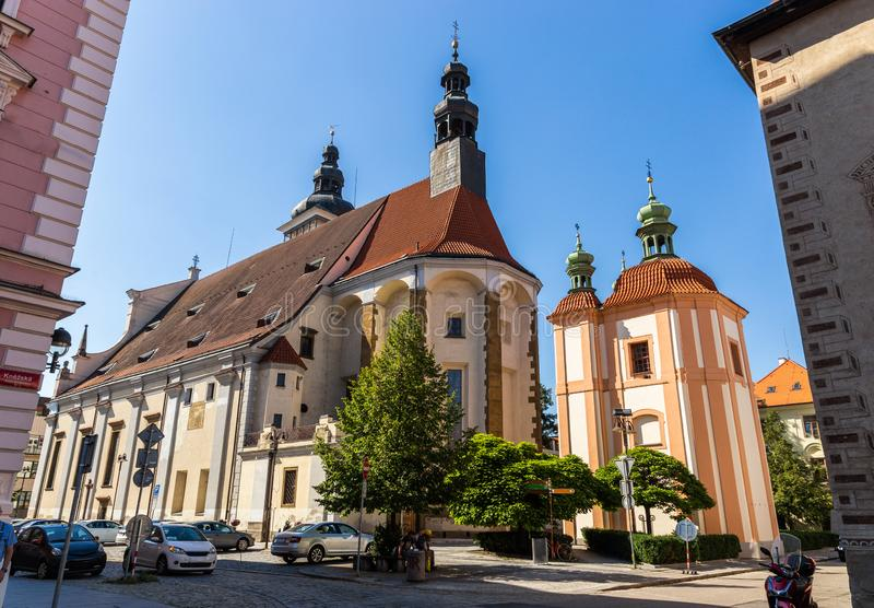 Церковь St Nikolaus в Ceske Budejovice r стоковые фото
