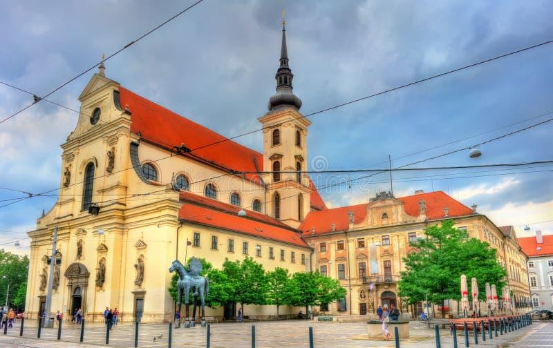 Церковь St. Thomas в Брне, чехии стоковые изображения rf
